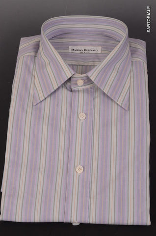 RUBINACCI Napoli Purple Striped Cotton French Cuff Dress Shirt NEW Classic Fit - SARTORIALE - 1