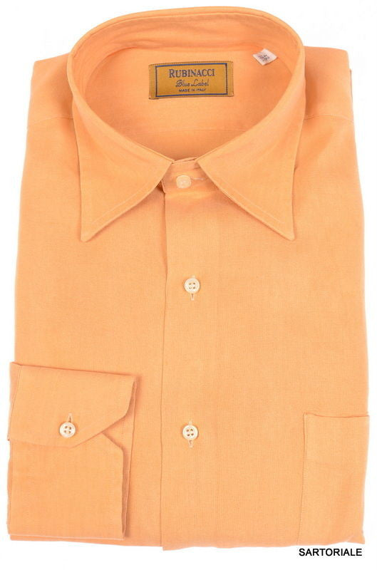 RUBINACCI Napoli 'Blue Label' Solid Tan Cotton Dress Shirt NEW Classic Fit - SARTORIALE - 1