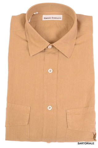 RUBINACCI Napoli Solid Light Brown Linen Casual Shirt EU 38 NEW US 15 S Classic - SARTORIALE - 1