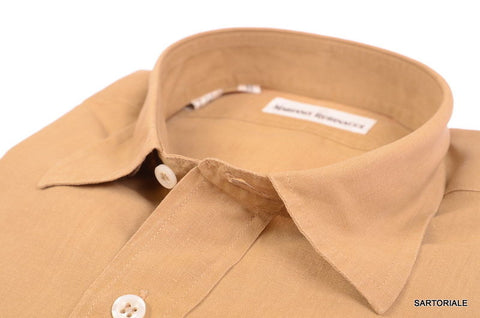 RUBINACCI Napoli Solid Light Brown Linen Casual Shirt EU 38 NEW US 15 S Classic - SARTORIALE - 2