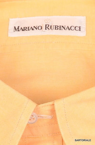 RUBINACCI Napoli Solid Yellow Cotton Dress Shirt EU 41 NEW US 16 L Regular Fit - SARTORIALE - 2