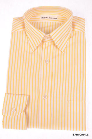 RUBINACCI Napoli White-Yellow Striped Cotton Dress Shirt NEW Regular Fit - SARTORIALE - 1