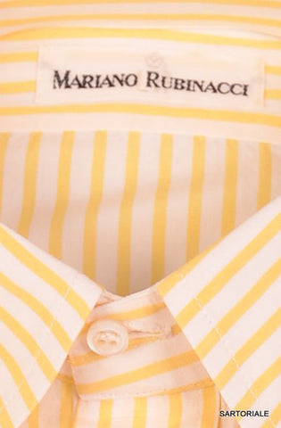 RUBINACCI Napoli White-Yellow Striped Cotton Dress Shirt NEW Regular Fit - SARTORIALE - 2