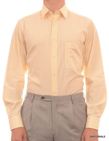 RUBINACCI Napoli White-Yellow Striped Cotton Dress Shirt NEW Regular Fit - SARTORIALE - 4