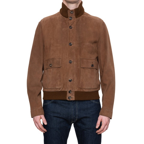 CESARE ATTOLINI Reindeer Skin Leather Cashmere Bomber Blouson Jacket 52 NEW 42