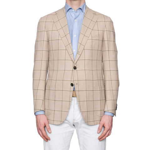CESARE ATTOLINI Napoli Tan Windowpane Wool Silk Linen Blazer Jacket 50 NEW US 40