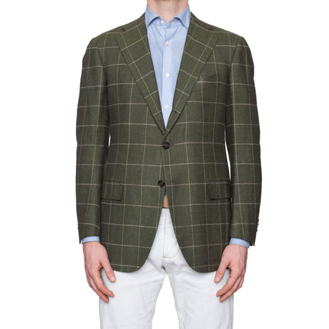 CESARE ATTOLINI Napoli Green Windowpane Wool Silk Linen Blazer Jacket 50 NEW 40