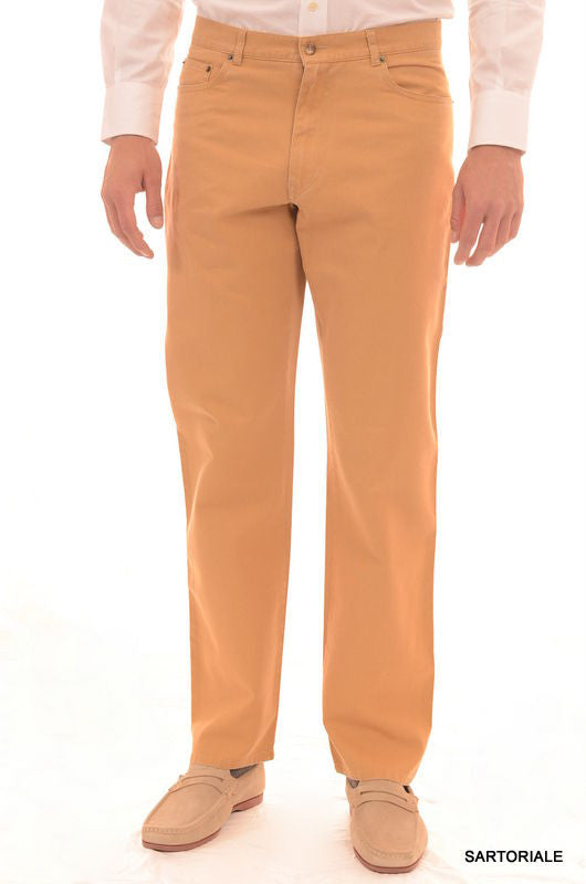 RUBINACCI Napoli Solid Beige Cotton Jeans Pants Straight Classic Fit NEW - SARTORIALE - 1