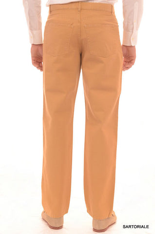RUBINACCI Napoli Solid Beige Cotton Jeans Pants Straight Classic Fit NEW - SARTORIALE - 2