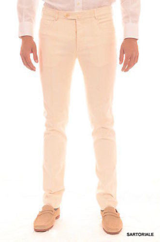 RUBINACCI Napoli Solid Off white Cotton Jeans Pants Slim Fit - SARTORIALE - 1