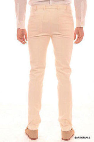RUBINACCI Napoli Solid Off white Cotton Jeans Pants Slim Fit - SARTORIALE - 2