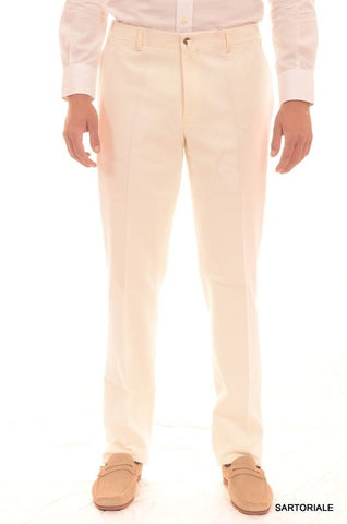 RUBINACCI Napoli Solid White Cotton Pants EU 50 NEW US 34 Straight, Classic Fit - SARTORIALE - 1