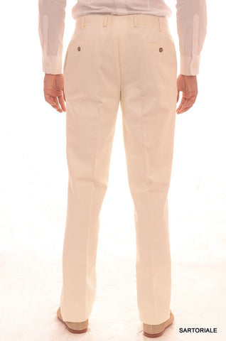 RUBINACCI Napoli Solid White Cotton Pants EU 50 NEW US 34 Straight, Classic Fit - SARTORIALE - 2