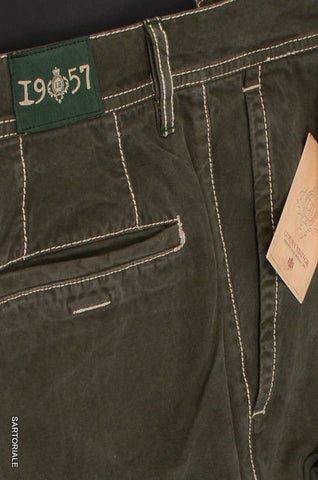 LUIGI BORRELLI Luxury Vintage Solid Green Cotton Straight Casual Pants NEW - SARTORIALE - 2