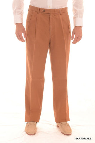 RUBINACCI Napoli Brown Herringbone Cotton Dress Pants EU 54 NEW 38 Classic Fit - SARTORIALE - 1