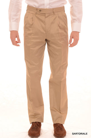 RUBINACCI Napoli Solid Tan Cotton Double Pleated Dress Pants NEW Wide Leg - SARTORIALE - 1