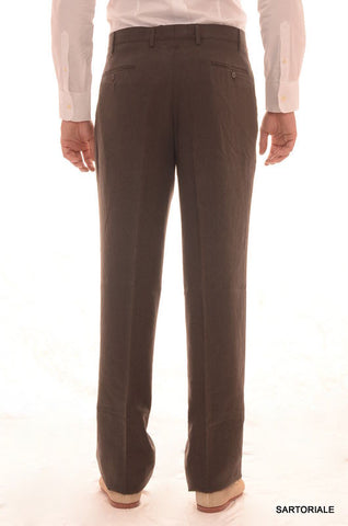 RUBINACCI Napoli Solid Gray Cotton Double Pleated Dress Pants NEW Wide Leg - SARTORIALE - 2
