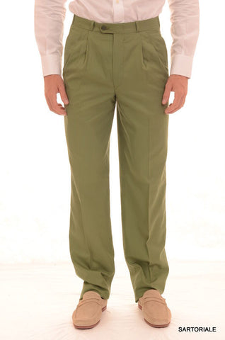 RUBINACCI Napoli Green Cotton Dress Pants EU 46 NEW US 30 Straight Classic Fit - SARTORIALE - 1