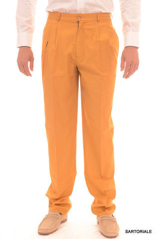 RUBINACCI Napoli Orange-Yellow Cotton Dress Pants EU 50 NEW US 34 Classic Fit - SARTORIALE - 1