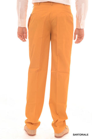 RUBINACCI Napoli Orange-Yellow Cotton Dress Pants EU 50 NEW US 34 Classic Fit - SARTORIALE - 2