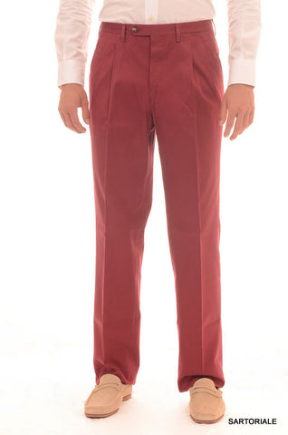 RUBINACCI Napoli Red Cotton Dress Pants EU 54 NEW US 38 Straight Classic Fit - SARTORIALE - 1