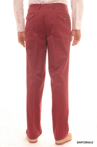 RUBINACCI Napoli Red Cotton Dress Pants EU 54 NEW US 38 Straight Classic Fit - SARTORIALE - 2