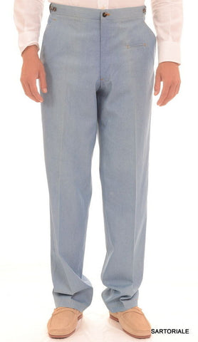 Sartoria CHIAIA Hand Made Blue Cotton Summer Denim Pants EU 52 NEW US 36 Sample - SARTORIALE - 1