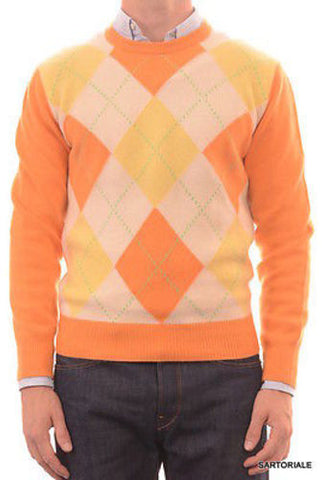 RUBINACCI Napoli Orange Argyle Cashmere Ribbed Crewneck Sweater US M NEW 50 - SARTORIALE - 1
