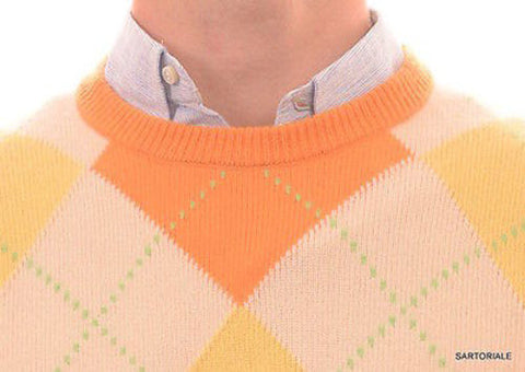 RUBINACCI Napoli Orange Argyle Cashmere Ribbed Crewneck Sweater US M NEW 50 - SARTORIALE - 2