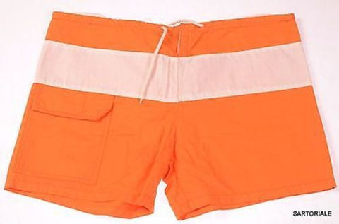 RUBINACCI Napoli Orange-White Cotton Bathing Suit Swim Shorts Trunks 48 NEW S - SARTORIALE - 1