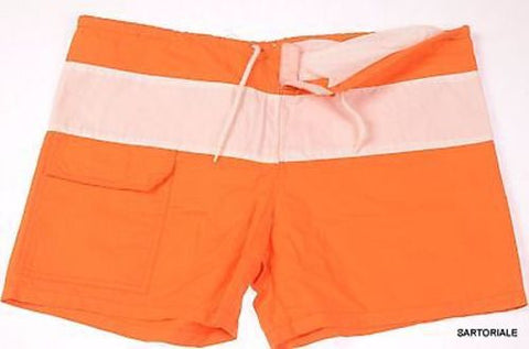 RUBINACCI Napoli Orange-White Cotton Bathing Suit Swim Shorts Trunks 48 NEW S - SARTORIALE - 2