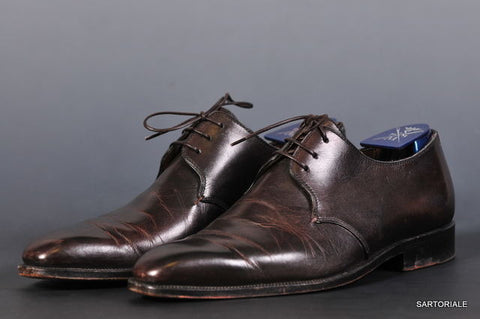 SUTOR MANTELLASSI Hand Made Misty Dark Brown Derby Dress Shoes US Size 6.5 - SARTORIALE - 1