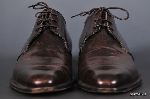 SUTOR MANTELLASSI Hand Made Misty Dark Brown Derby Dress Shoes US Size 6.5 - SARTORIALE - 2