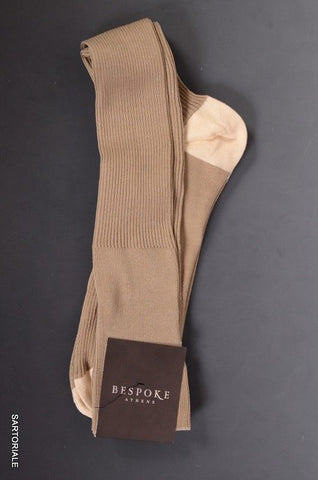 BESPOKE ATHENS Light Brown Cotton - Nylon Knee High Socks Size 11.5 / 12  NEW - SARTORIALE