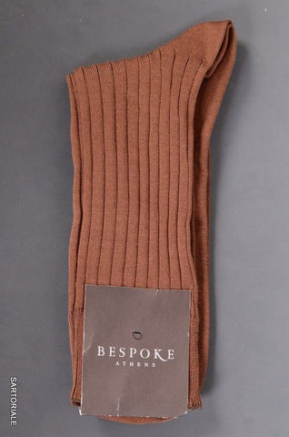 BESPOKE ATHENS Made In Italy Brown Cotton - Nylon Socks Size 11.5 / 12 NEW - SARTORIALE