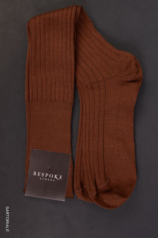 BESPOKE ATHENS Solid Brown Cotton - Nylon Knee High Socks 10.5 / 11 NEW - SARTORIALE