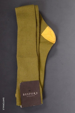 BESPOKE ATHENS Green Cotton - Nylon Knee High Socks Size 11.5 / 12  NEW - SARTORIALE