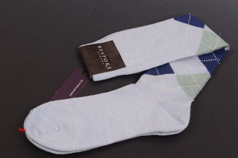 BRESCIANI For BESPOKE ATHENS Blue Argyle Wool Knee High Socks 8-10 NEW Size M - SARTORIALE - 1