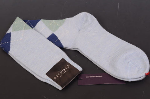 BRESCIANI For BESPOKE ATHENS Blue Argyle Wool Knee High Socks 8-10 NEW Size M - SARTORIALE - 2