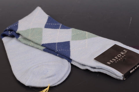 BRESCIANI For BESPOKE ATHENS Blue Argyle Wool Socks 10.5-12 NEW Size L - SARTORIALE - 2