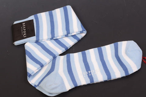 BRESCIANI For BESPOKE ATHENS Blue Striped Cotton Knee High Socks NEW - SARTORIALE