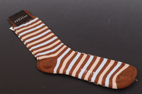 BRESCIANI For BESPOKE ATHENS Brown Striped Cotton Socks 10.5-12 NEW Size L - SARTORIALE - 1