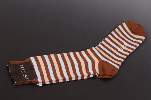 BRESCIANI For BESPOKE ATHENS Brown Striped Cotton Socks 10.5-12 NEW Size L - SARTORIALE - 2