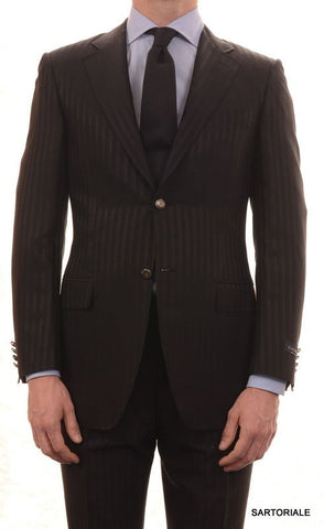 CANALI Made In Italy Black Striped Wool-Silk Suit Slim Fit R8 NEW - SARTORIALE - 1