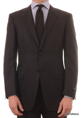 CANALI ITALY Navy Blue Striped Wool-Silk Peak Lapel Suit 50 NEW 40 Slim - SARTORIALE - 1