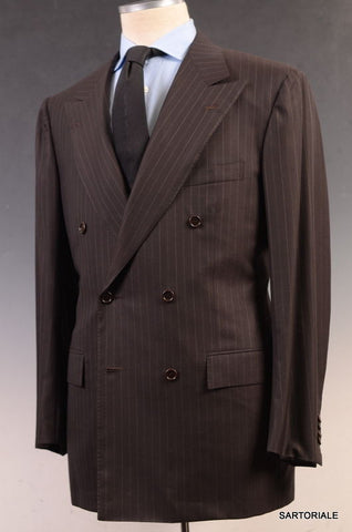 KITON Napoli Hand Made Brown Striped DB Super 180's Wool Suit EU 54 NEW US 42 44 - SARTORIALE - 1