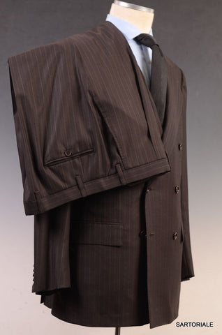 KITON Napoli Hand Made Brown Striped DB Super 180's Wool Suit EU 54 NEW US 42 44 - SARTORIALE - 7