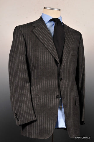 KITON Napoli Hand Made Gray Striped Wool Business Suit EU 50 NEW US 38 40 - SARTORIALE - 1