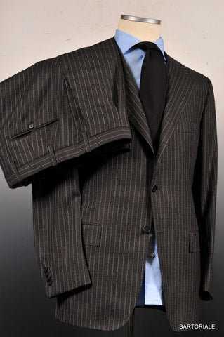 KITON Napoli Hand Made Gray Striped Wool Business Suit EU 50 NEW US 38 40 - SARTORIALE - 7