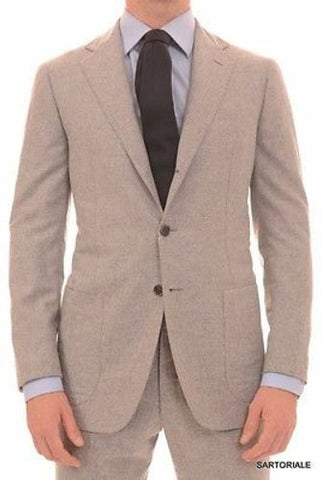 Sartoria Partenopea Gray Wool-Silk-Cashmere Flannel Suit NEW Elbow Patch - SARTORIALE - 1